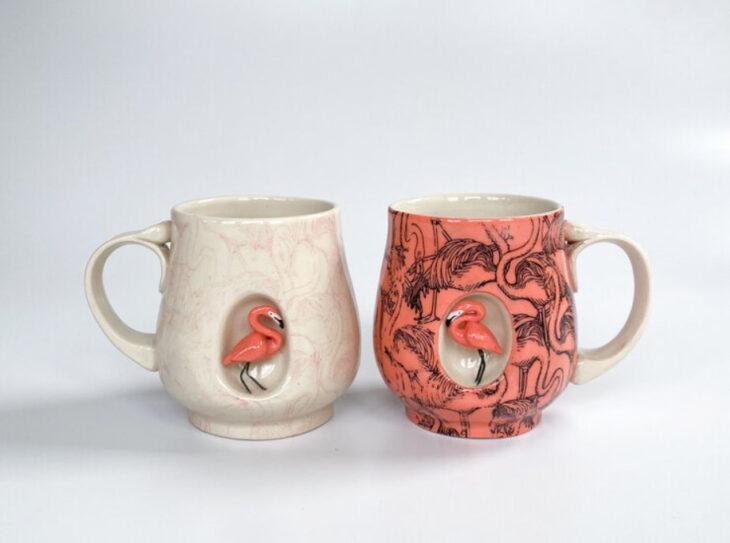 Tazas de Brooke Knippa de AP Curiosities Art Studio de Flamingo