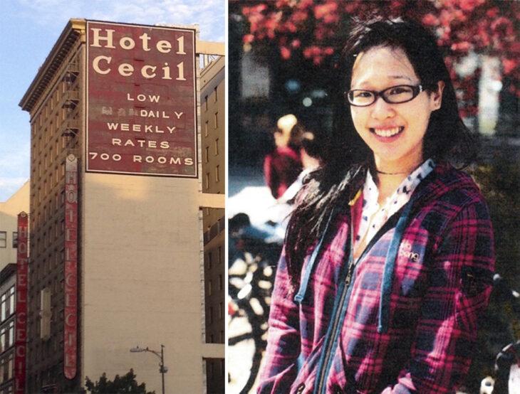 Del lado izquierdo un letrero del Hotel Cecil en Los Ángeles y del lado derecho fotografía de la estudiante Elisa Lam