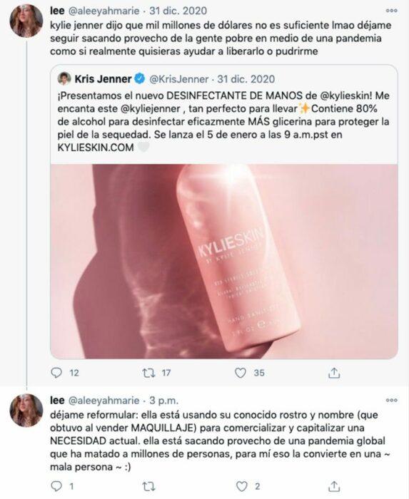 Comentarios en contra del desinfectante de manos de Kylie Jenner