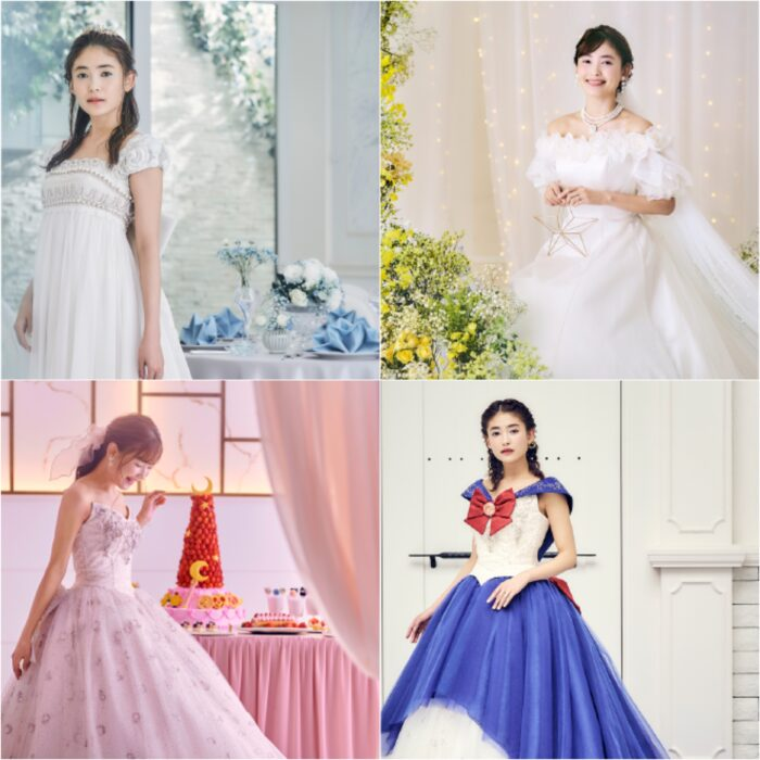 Chicas llevando vestidos de novia inspirados en Sailor Moon; Lanzan lujoso paquete de bodas inspirado en Sailor Moon; ¡es hermoso!