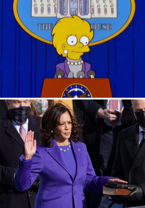 Los Simpson y el vestido de Kamala Harris