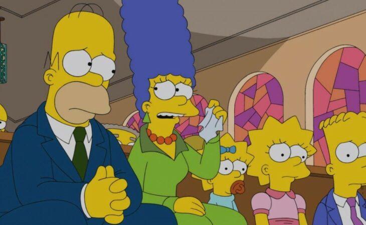 Escena de 'Los Simpson' en la que van a la iglesia