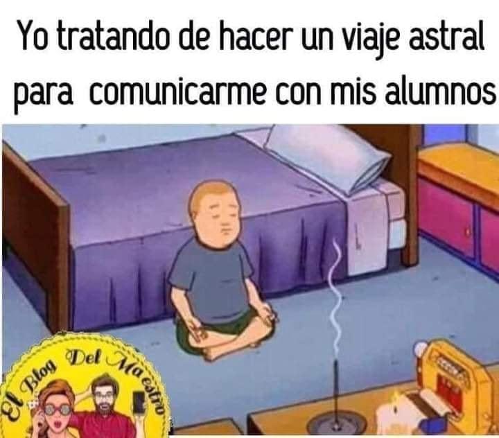 Meme de chico meditando para pedir las tareas a sus alumnos