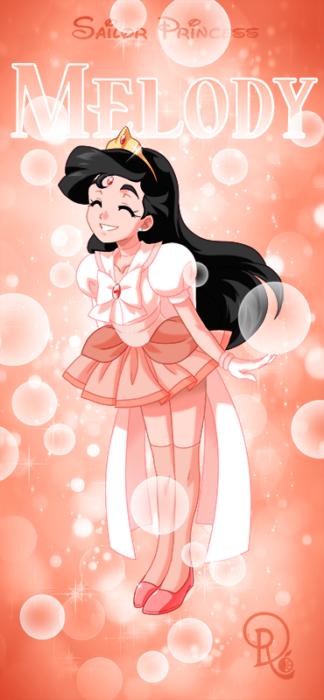 Ilustración digital de la artista Drachea Rannak, del personaje de Disney de Melody, de 'La Sirenita 2' en su versión anime