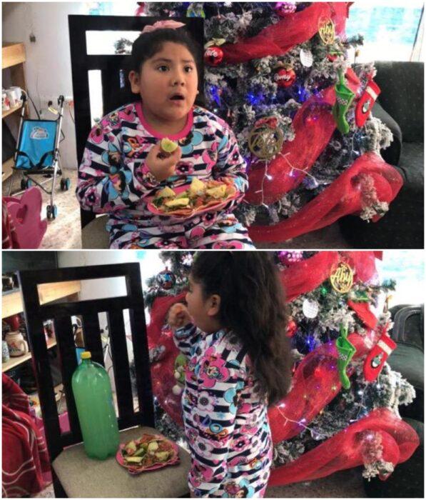 Teresa, niña comiendo tacos al pastor junto al árbol de Navidad; Niña pide tacos en lugar de regalos a los Reyes Magos; ¡ellos cumplieron!