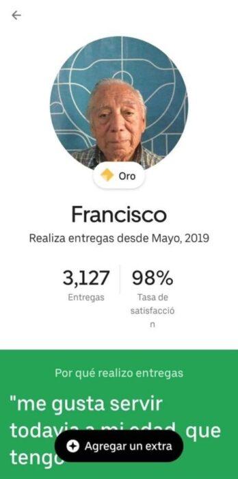 Perfil de Panchito en la app