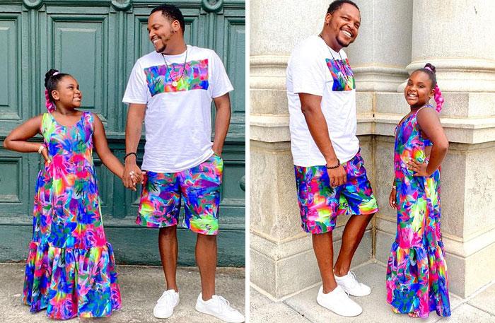 Padre e hija llevando conjuntos a juego en color bnlaco con tonalidades fluorescentes;Michael Gardner y Ava; Papá crea más de 200 outfits a juego con su hija para ayudarle a sentirse segura