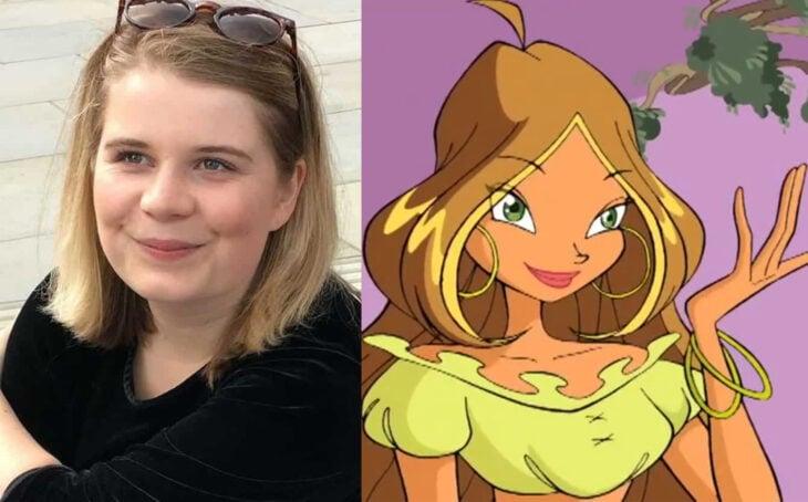 Comparación del personaje de Flora y Trerra en la serie el club Winx