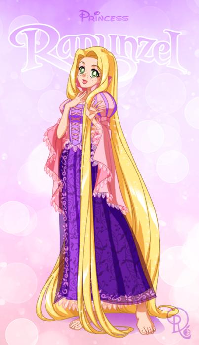 Ilustración digital de la artista Drachea Rannak, del personaje de Disney, de Rapunzel  en su versión anime