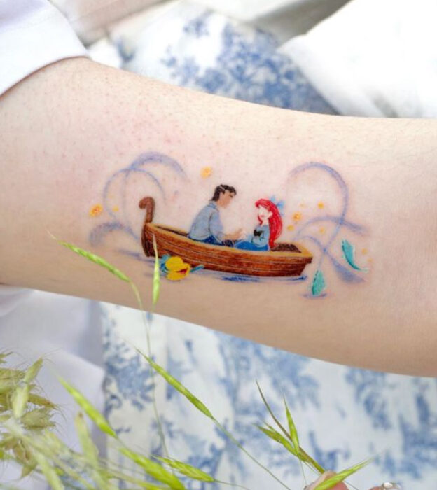 Tattoo inspired by the movie of 'The Little Mermaid' in the forearm area