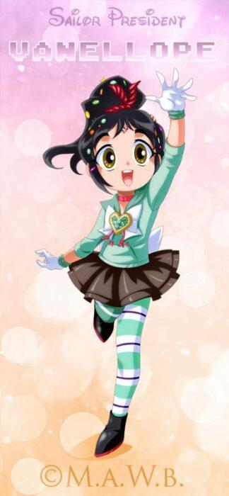 Ilustración digital de la artista Drachea Rannak, del personaje de Disney, de Vanellope de 'Ralph el demoledor' en su versión anime
