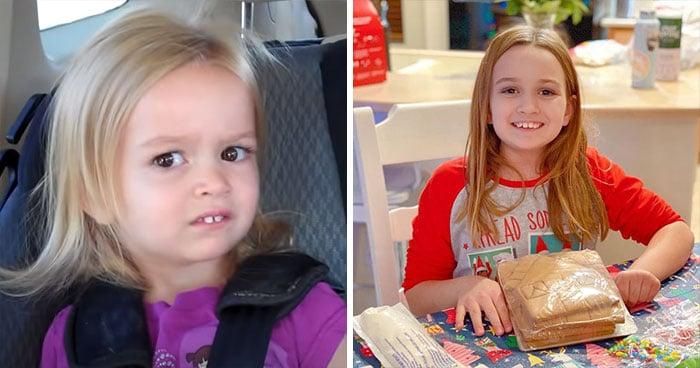 Antes y después de la protagonista del meme Chloe mirando de reojo