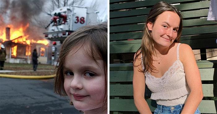 """Antes y después de la protagonista del meme """"viendo el mundo arder"""""""