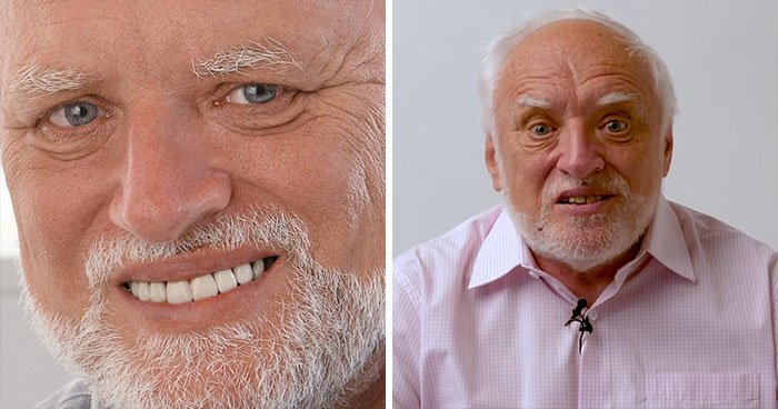 Antes y después del protagonista del meme Harold escondiendo el dolor