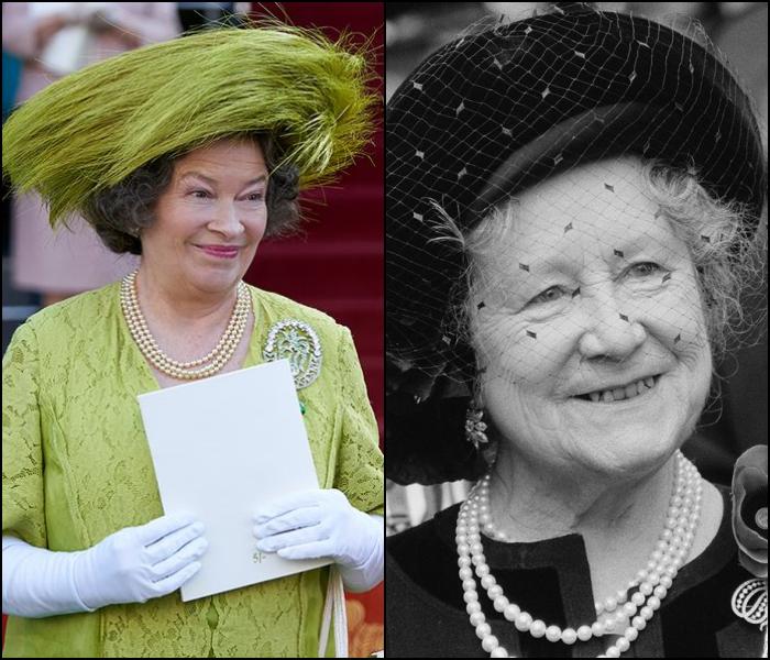 Marion Bailey como la Reina Madre de Inglaterra