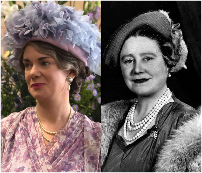 Victoria Hamilton como al Reina Madre de Inglaterra