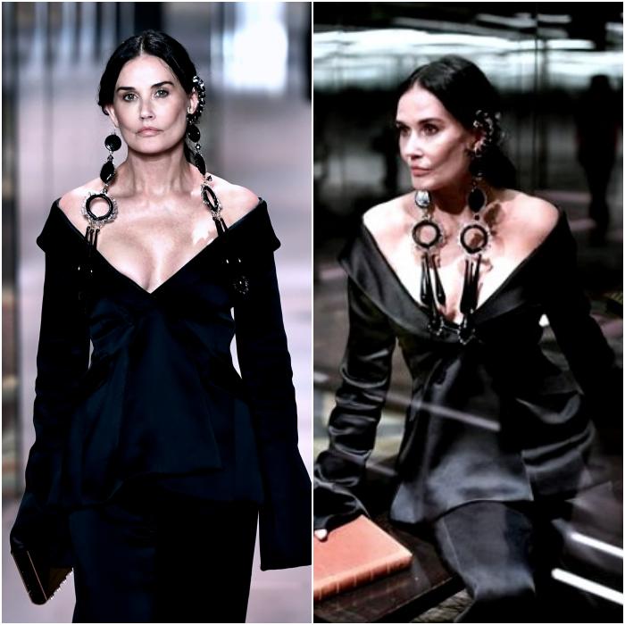 Demi Moore desfilando en la semana de la moda de París para Fendi
