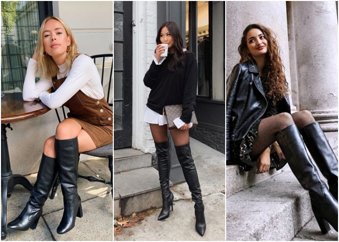 girls wearing long black leather boots with heel for winter