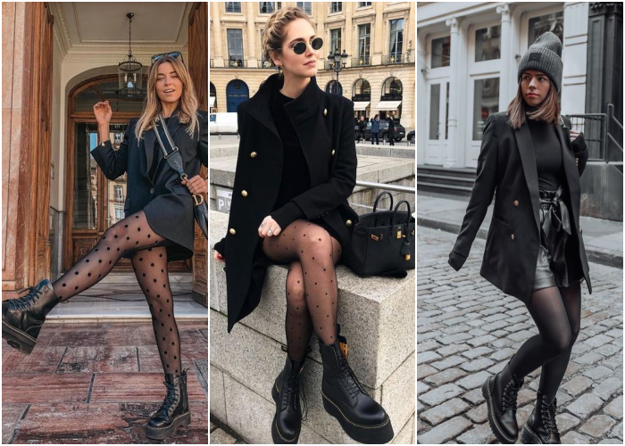 brown haired blonde girl wearing sunglasses, black stockings, black leather ankle boots, black jackets, black coats and black leather handbags