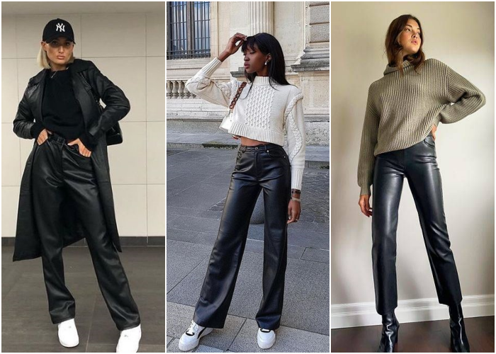 girls wearing black leather pants with black, white and army green sweaters with sneakers and dark heels