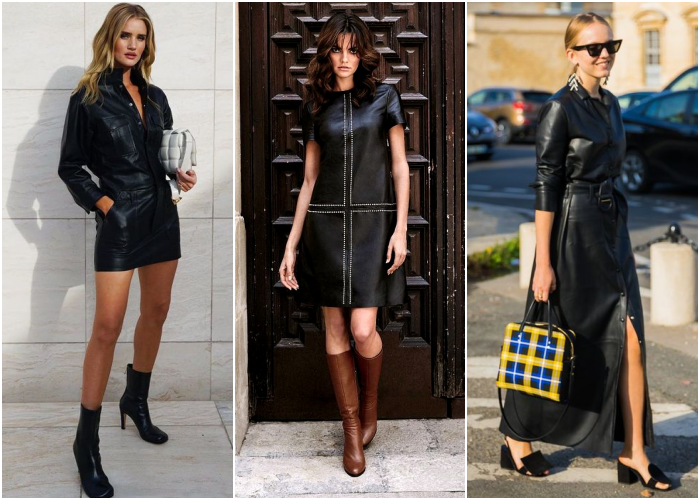 blonde or brown haired girls wearing sunglasses, black leather dresses with brown leather black high heels