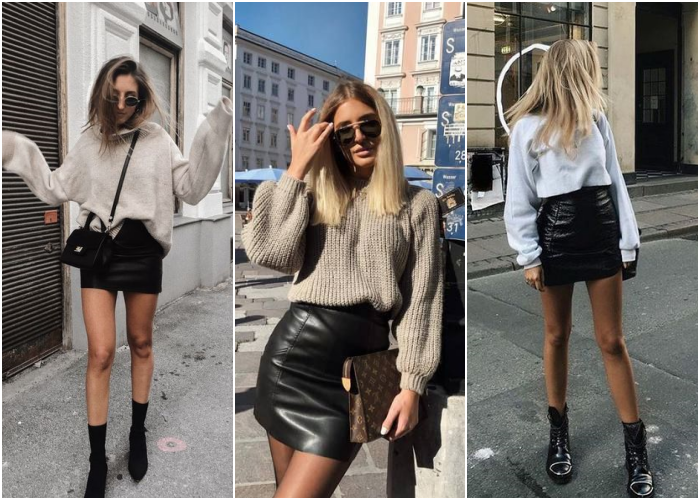 blonde girls wearing black leather mini skirts with black ankle boots, beige or white knitted sweater and sunglasses