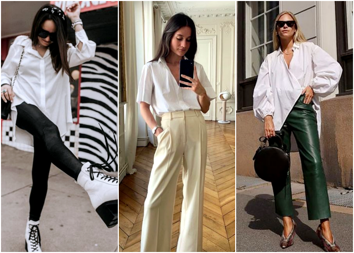 brown haired girl, blonde with sunglasses, wearing a white dress shirt with green leather pants, black leggings and beige dress pants with white platform boots and brown heels with animal print