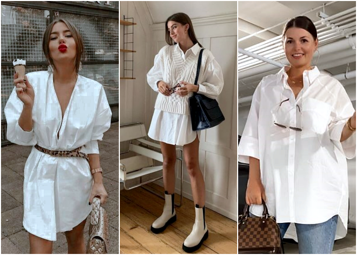 blonde girl, brown hair, curvy wearing a white oversized dress shirt like dress, with fitted belt, white black platform boots and black bag with beige knit vest