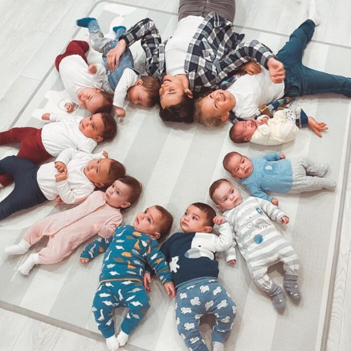 Christina con sus once hijos