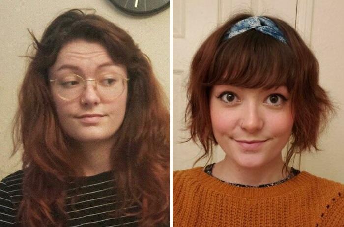 Chica antes y después de cortar su cabello con flequillo; mostrando su melena pelirroja