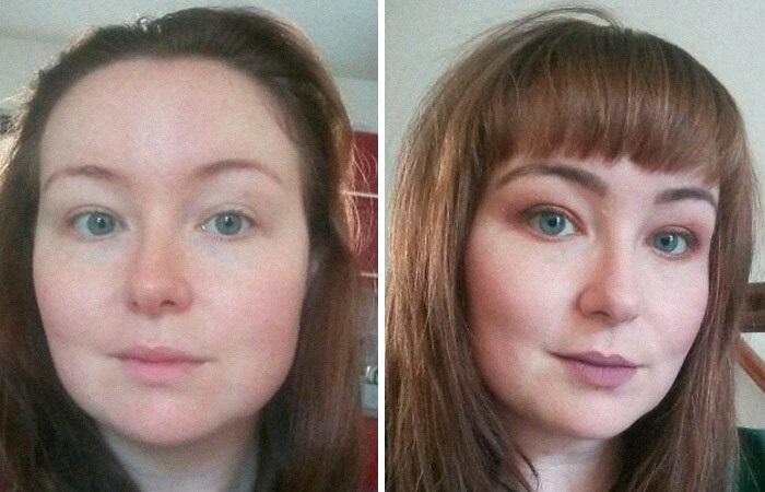 Chica antes y después de cortar su cabello con flequillo; corto y con mechas al frente