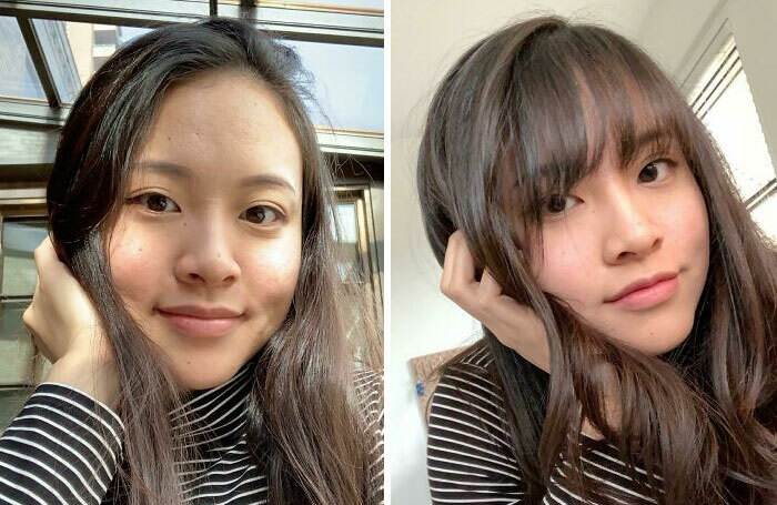 Girl before and after cutting her hair with bangs; with pronounced forehead and oval face