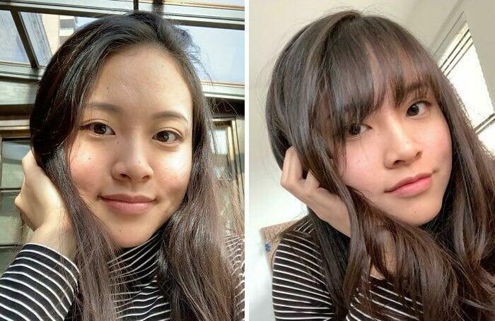 Chica antes y después de cortar su cabello con flequillo; con frente pronunciada y rostro ovalado