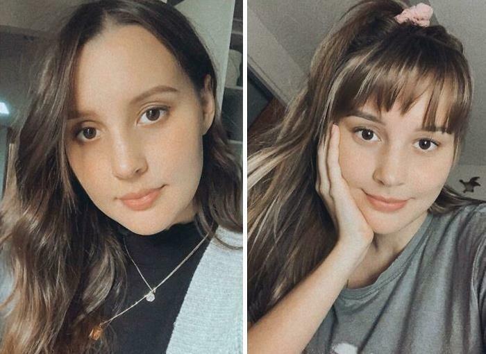 Chica antes y después de cortar su cabello con flequillo; cabello en color castaño dorado