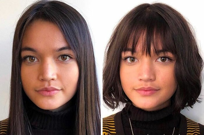 Girl before and after cutting her hair with bangs; with a round face and pronounced chin