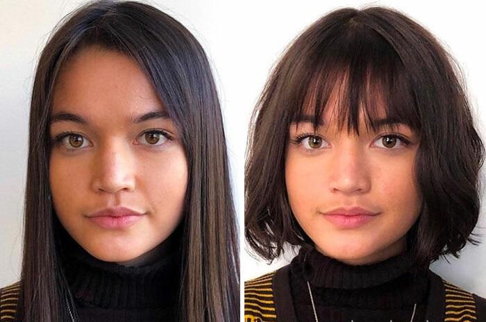 Chica antes y después de cortar su cabello con flequillo; con rostro redondo y mentón pronunciado
