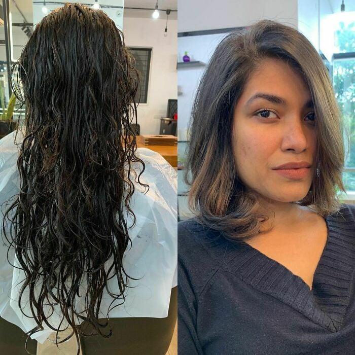Chica antes y después de cortar su cabello con ondas hasta a barbilla
