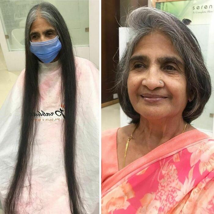 Mujer antes y después de cortar su cabello