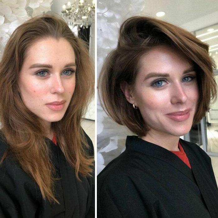 Chica antes y después de cortar su cabello en bob con flequillo