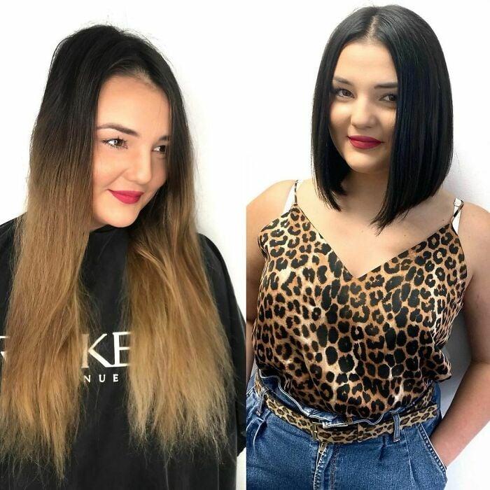 Chica antes y después de cortar su cabello en bob largo