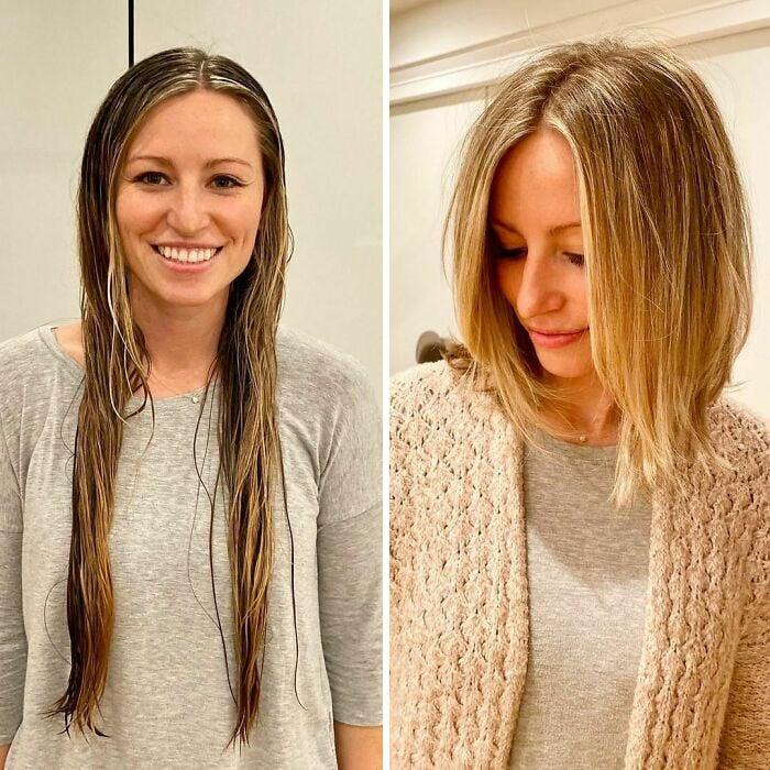 Chica antes y después de cortar su cabello en melena