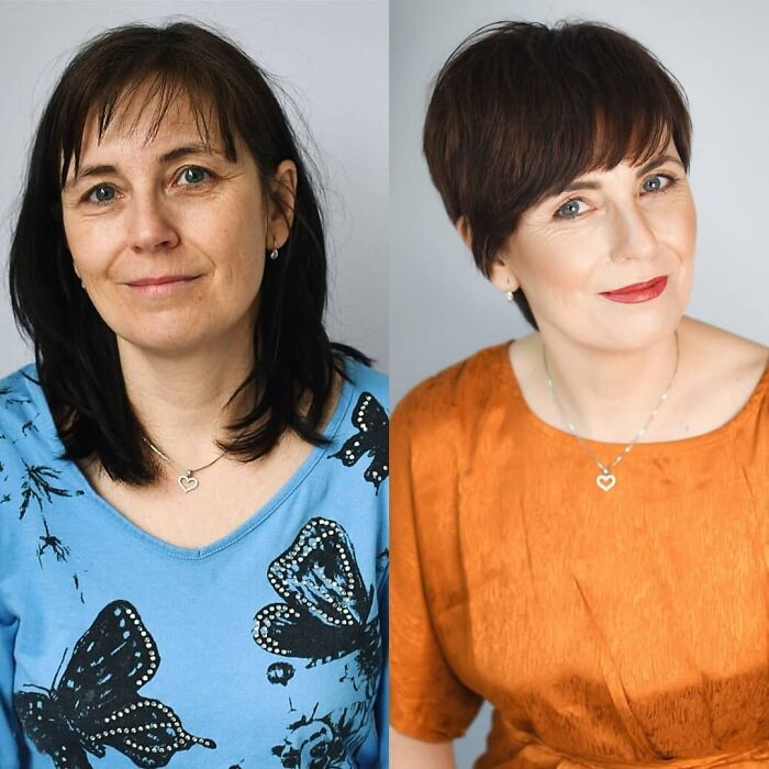Chica antes y después de cortar su cabello estilo pixie
