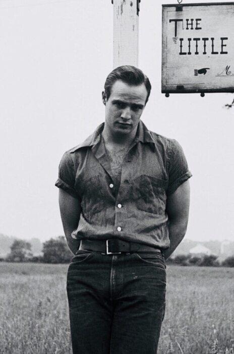 Marlon Brando recargado en una cerca de madera