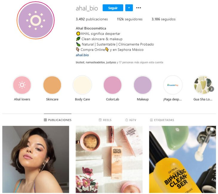 Instagram profile of Ahal Biocosmética, Mexican brand of beauty products