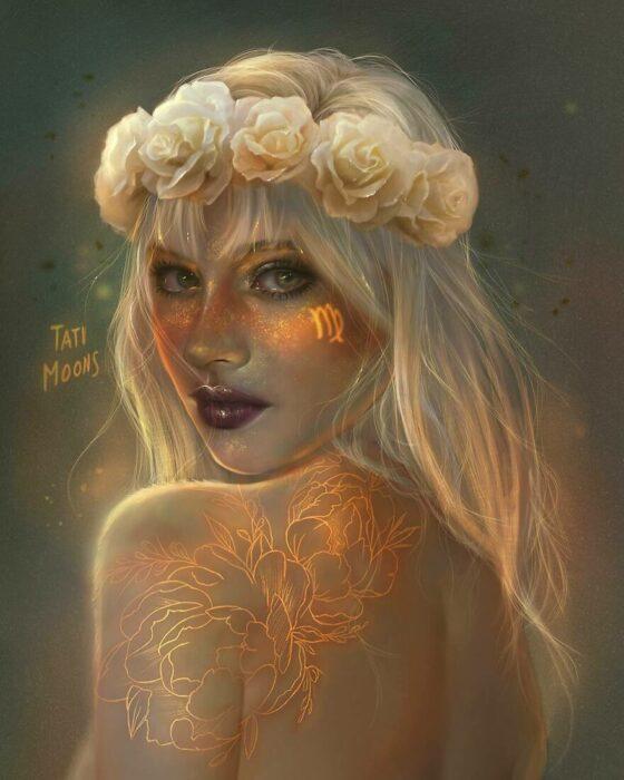 Ilustración digital de tatimoons de signo zodiacal virgo