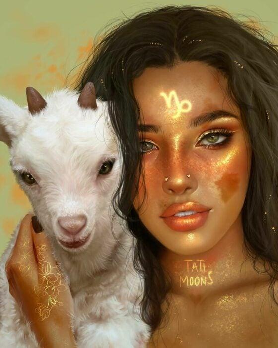 Ilustración digital de tatimoons de signo zodiacal capricornio