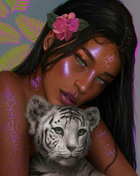 Ilustración digital de tatimoons de tigre en el calendario chino