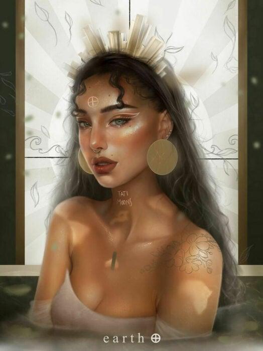 Ilustración digital de tatimoons de la diosa de la tierra