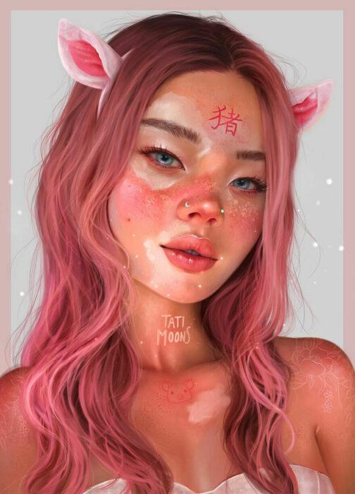 Ilustración digital de tatimoons de cerdo en el calendario chino
