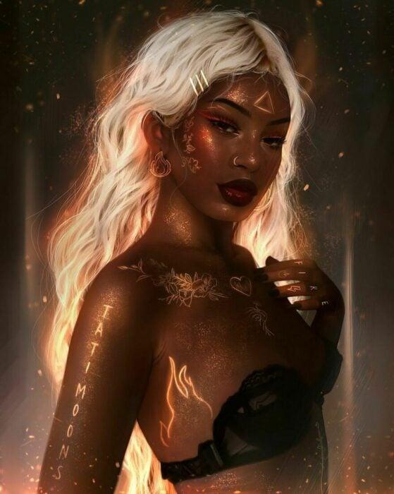 Ilustración digital de tatimoons de la diosa del fuego